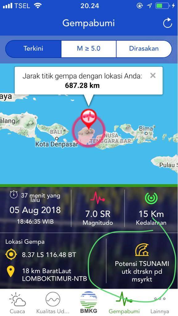Gempa 7 SR Lombok Utara Berpotensi Tsunami