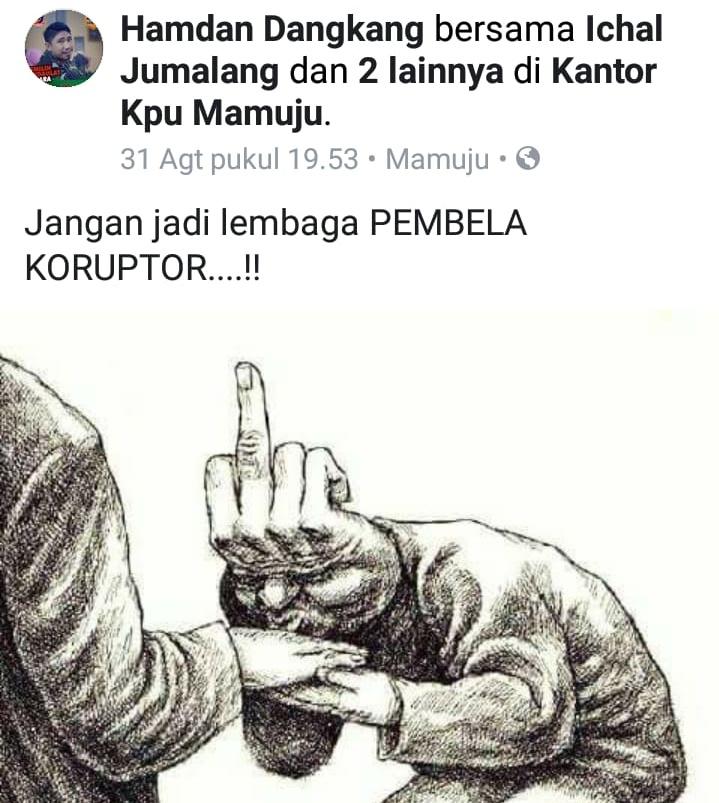 Gambar Hajrul Sebut Postingan Ketua KPU Mamuju di Facebook Dinilai Tidak Etis