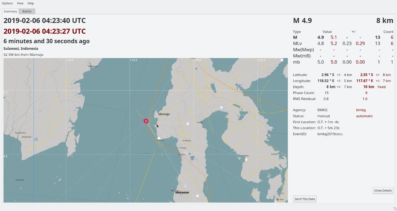 Gambar Gempa 4,9 M Guncang Mamuju, BMKG: Tidak Berpotensi Tsunami