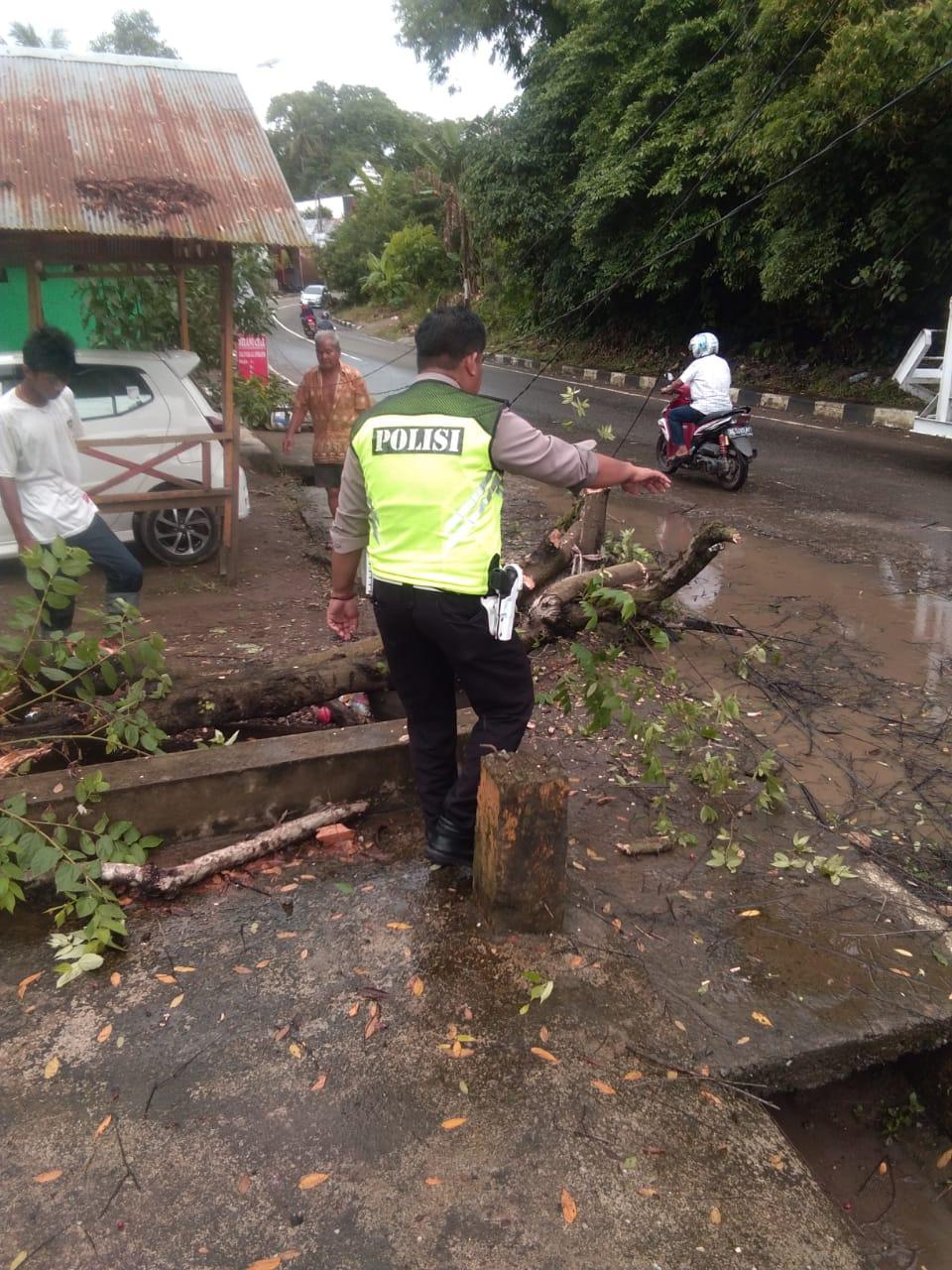 Gambar Sat Lantas Polres Mamuju Bantu Bersihkan Pohon Tumbang