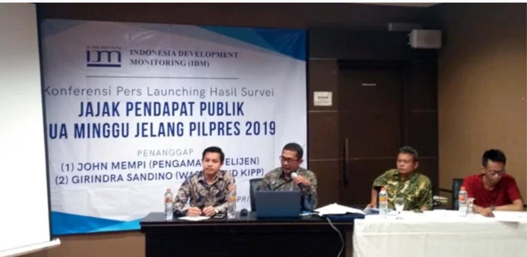 Survei IDM: Prabowo-Sandi 57,6 Persen, Jokowi-Maruf 38,76 Persen