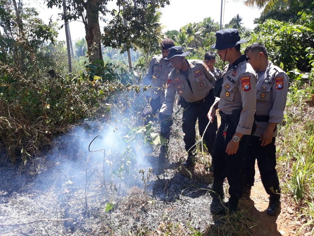 Gambar Polisi Padamkan Kebakaran Hutan di Pulau Karampuang, Mamuju