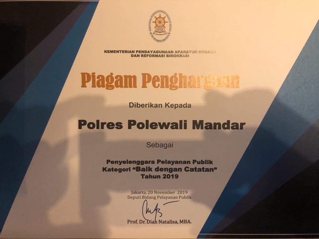 img Polres Polman Raih Penghargaan Pelayanan Publik Kategori Baik dari Kemenpan RB