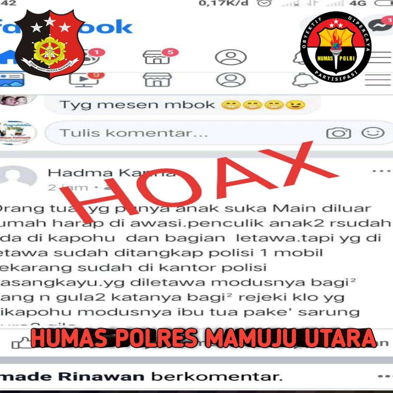 Isu Penculikan di Pasangkayu  Hoax!