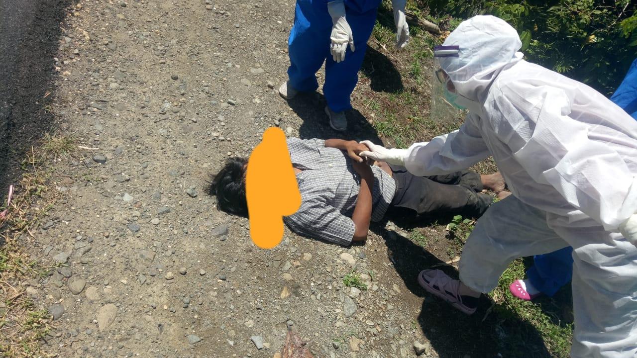 Sat Reskrim Polres Matra Olah TKP Mayat Dipinggir Jalan dengan SOP Covid