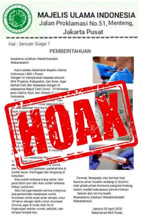Gambar Info Hoax Lagi, Kakanwil Kemenag: Sudah Diklarifikasi Sekjen MUI