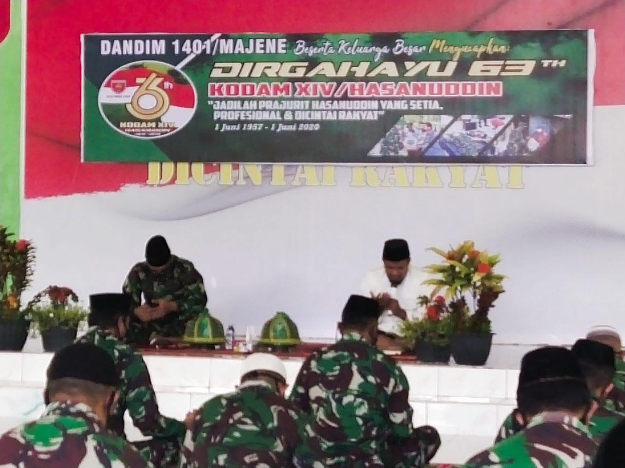 img Kodim Majene Peringati HUT Kodam Hasanuddin dengan Yasinan dan Do'a Bersama