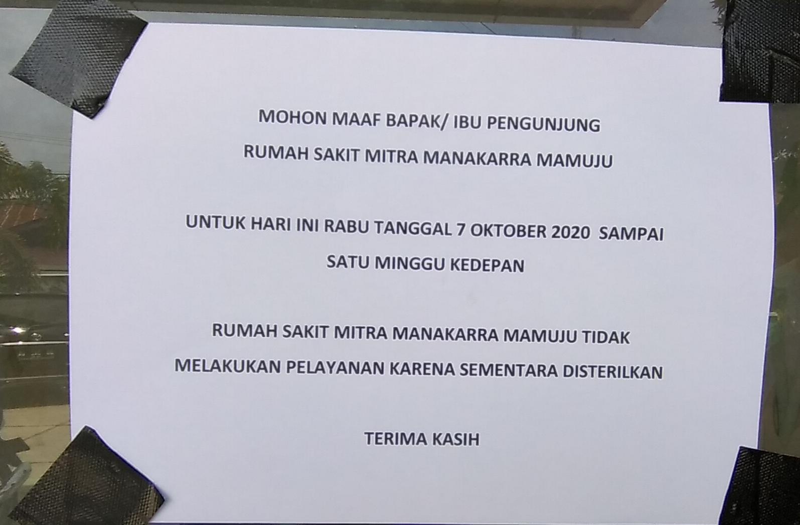 RS Mitra Manakarra Disterilkan Selama Sepekan